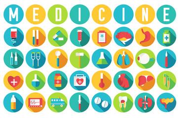 set flat medical equipments and human anatomy body organs icons