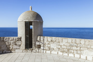An outpost overlooking the Adriatic Sea on the old city wall in Dubrovnik