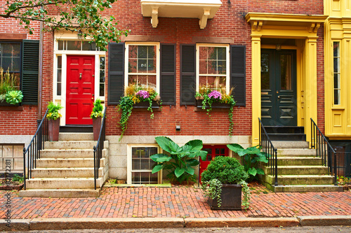 Street at Beacon Hill neighborhood, Boston - 82172281