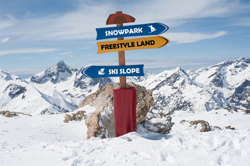 Road Sign In the Snow