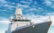 Battle ship with radar and gun. - 82173689
