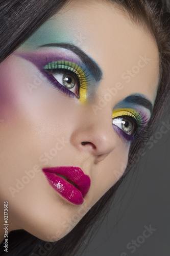 Obraz w ramie Beautiful woman with bright colourful makeup