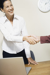 Mixed Race businesswoman shaking hands