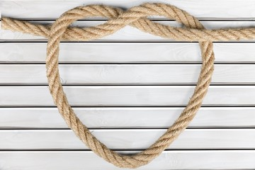 Rope. Heart shape from rope