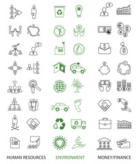 Set of 48 icons: environment,business and finance