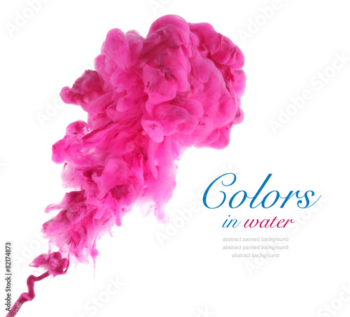Canvas Kleuren in het water Acrylic colors and ink in water. Abstract background.