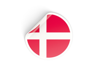 Round sticker with flag of denmark