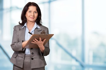 Clipboard. Business woman with clipboard
