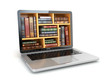 E-learning education internet library or book store. Laptop and - 82175447