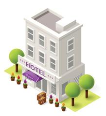 Vector isometric hotel