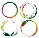 Abstract circle acrylic and watercolor painted design elements.