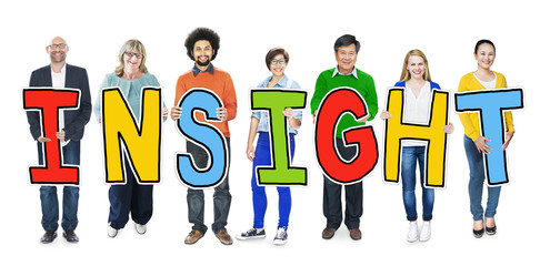 Group of Diverse People Holding Insight Concept
