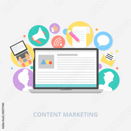 Content marketing concept, vector illustration - 82177440
