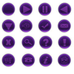 Round Shiny Purple Web Buttons
