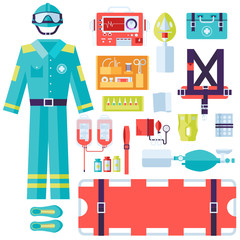 medical rescue uniform and set first aid help equipment and