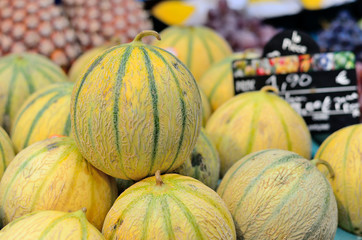 Melons on the market.