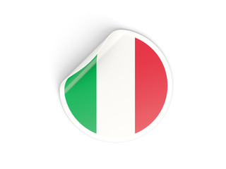 Round sticker with flag of italy