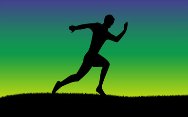 Silhouette of running man with sunset colorful background