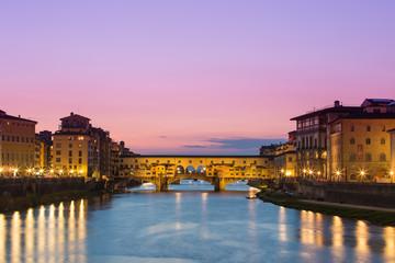 Twilight of Ponte Vecchio the ancient bridge of Florence, Italy.