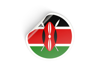 Round sticker with flag of kenya