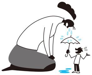 泣く女性を慰める男性