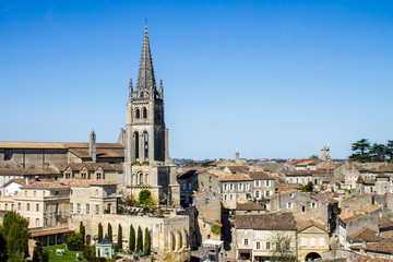 The bell tower of the monolithic church in Saint Emilion, near B