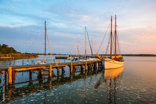 Deurstickers Poort Hafen Peenemünde Sonnenuntergang