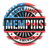 Grunge stamp with the text United States of America, Memphis poster