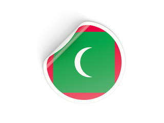 Round sticker with flag of maldives
