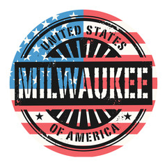 Grunge stamp with the text United States of America, Milwaukee