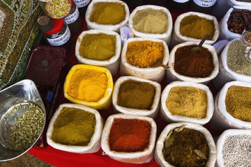Variety of spices on display in market, Panjim, Goa, India