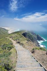 Steps on coastal hillside, Te Werahi, Cape Reinga, New Zealand