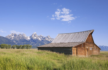 Remains of a historic Barn front in Mormon Row near the Teton Range