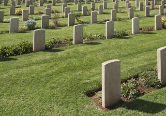Headstones in graveyard