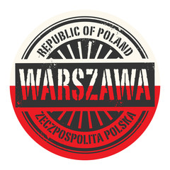 Grunge rubber stamp with the text Republic of Poland, Warszawa
