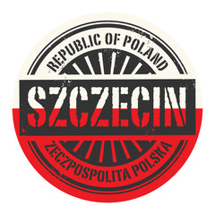 Grunge rubber stamp with the text Republic of Poland, Szczecin