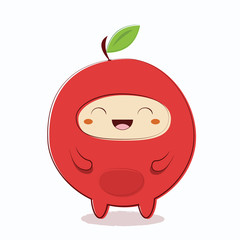 Apple fruit funny character in Japanese style