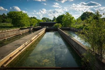 Sedimentation Tanks at Abandoned Sewage Treatment Plant