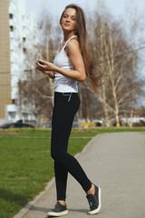 Woman Jogging with headphones