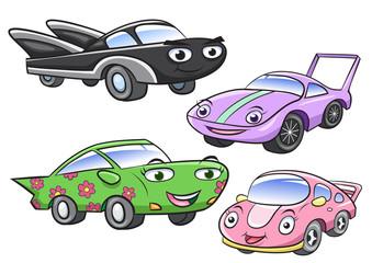 Vector illustration of cute cartoon car characters
