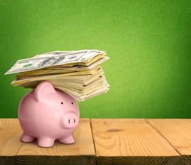 Piggy Bank. Piggy Bank with Money