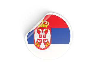 Round sticker with flag of serbia
