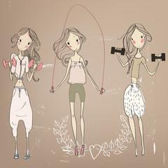 3 sporty girls.