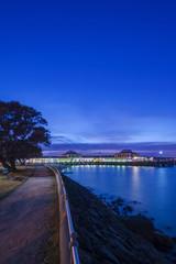 Harbor lit up at night