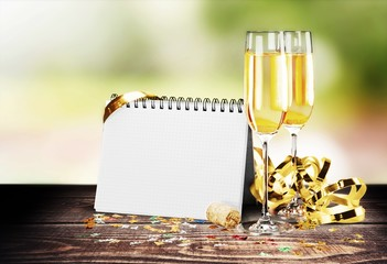 New. Celebration theme with champagne wine