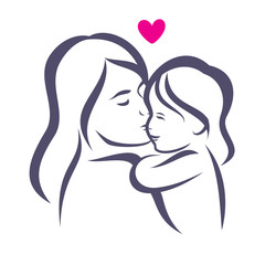 mother and daughter stylized vector silhouette, outlined sketch
