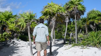 Hiker explores subtropical palm forest on white sandy beach