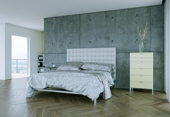 modernes Schlafzimmer mit Sichtbeton