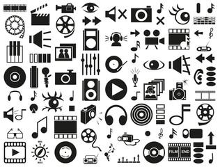 sound, video icons on white