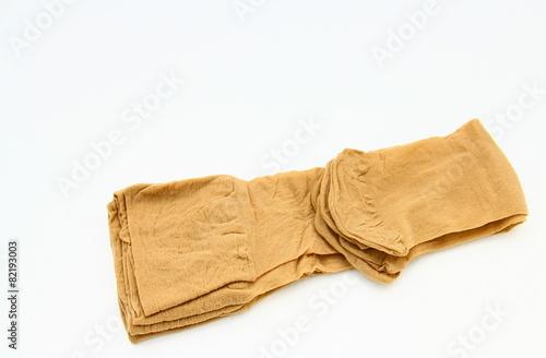 Leinwanddruck Bild chaussettes beige en nylon,isolé,fond blanc